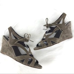 J crew Suede Lace Up Wedge Sandals Green Strappy